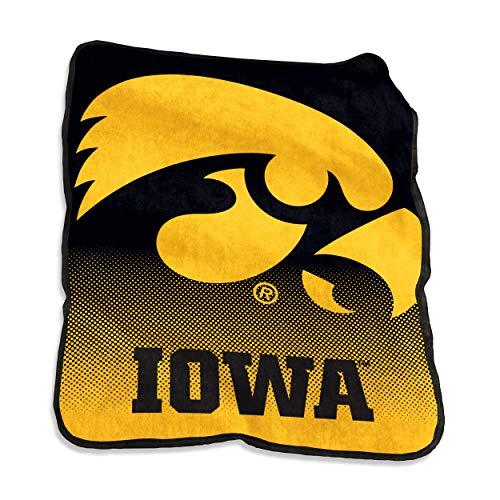 Logo Brands NCAA Iowa Hawkeyes Unisex Raschel Throwraschel Throw, Charcoal, N/A ()
