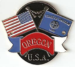 Oregon & United States of America Flags - Hiking Stick Medallion