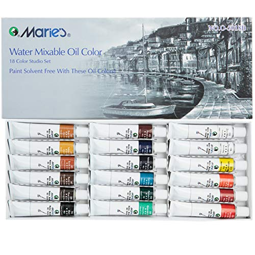 Marie's Water Soluble Oil Colors Paint 18 Set 12ml Tubes, Assorted Colors