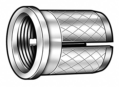 1/4'' 18-8 Stainless Steel Knurled Press Insert with 6-32 Internal Thread Size; PK10 - pack of 5