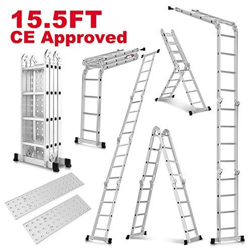 Idealchoiceproduct 15.5' Heavy Duty Gaint Aluminum Multi Purpose Folding Ladder Scaffold Ladders with 2 Platform Plates- 330Lbs