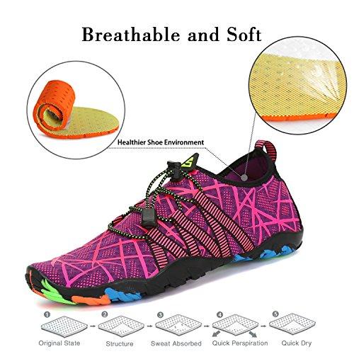 Resaca la Skin de Violeta la Sarga Nadada Aqua Saguaro de Shoes Yoga Playa acuático Calcetines para la Descalzo de de 1qxawf6