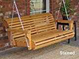 Brand New Contoured Classic Cedar Porch Swing with Hanging Chain and Cupholders – 6 Foot Stained Review