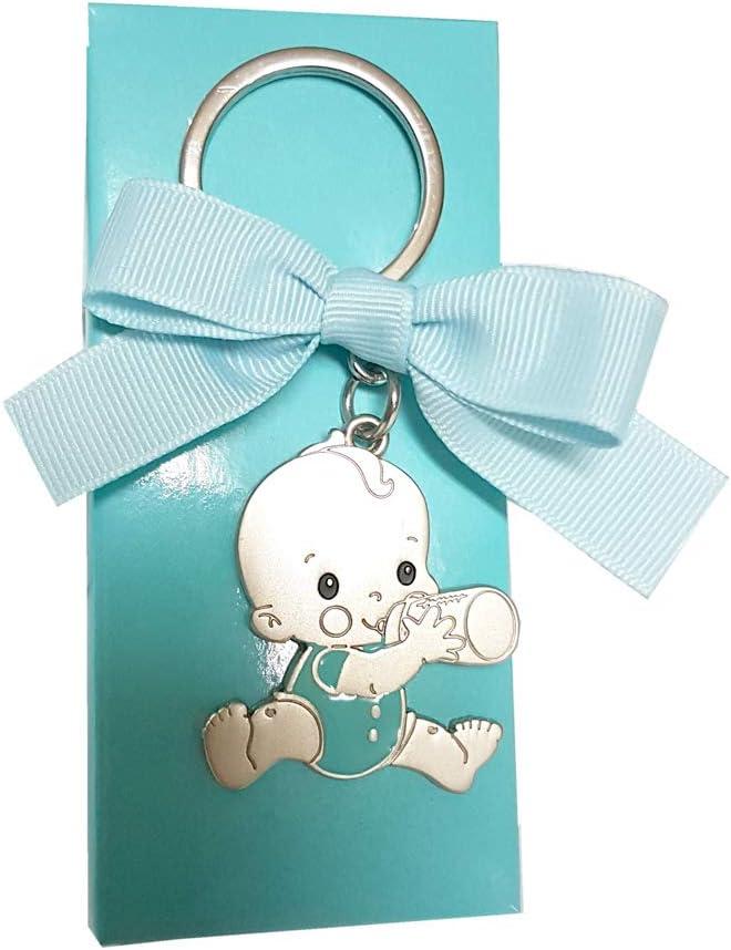 Lote 15 unidades llavero bebe body azul con biberón, personalizados