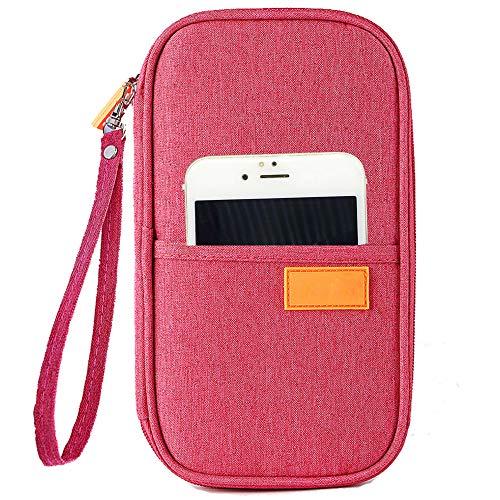 Family Passport Holder for 4, FLYMEI Travel Wallet Passport Holder with Hand Strap, Travel Wallet Organizer RFID Blocking Document Organizer Bag Ticket Holder for Women