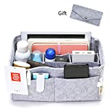 IN Felt Purse Organizer,Handbag Organizer Insert for Speedy 30 Purse Liner Multi-Pocket Bag Divider Shaper Grey (Medium: Fit LV Speedy 30, Grey)