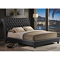 Baxton Studio Jazmin Tufted Modern Bed with Upholstered Headboard, King, Black