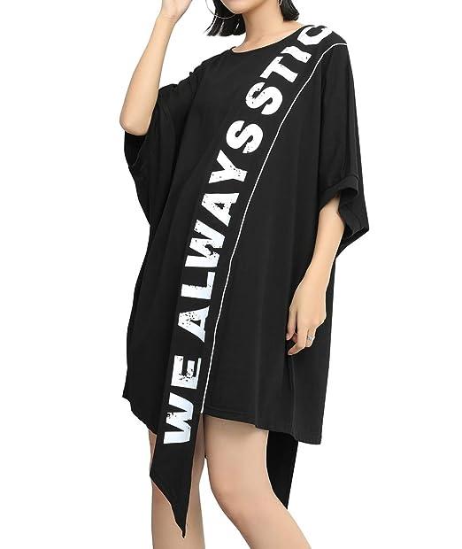 Ellazhu Women's Summer Letter Printed Black T Shirt Midi Dress Gy1782 A by Ellazhu