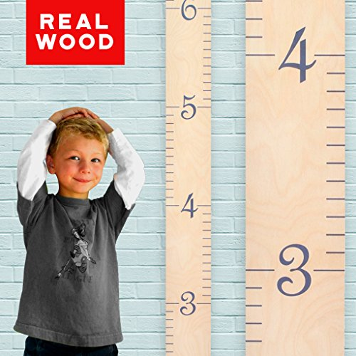 (Growth Chart Art | Wooden Growth Chart Ruler for Boys + Girls | Kids Growth Chart Wood | Measuring Kids Height Wall Décor | Naked Birch with Gray)
