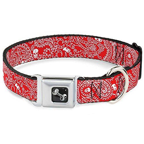 Buckle-Down Bandana/Skulls Red/White Dog Collar Bone, Sma...