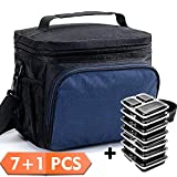 Lunch Box Bag Insulated Lunch Bag Set+7 Pack 3 Compartment Meal Prep Containers