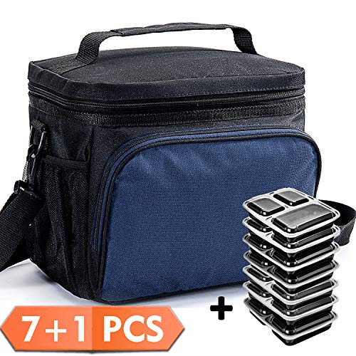 Price comparison product image Lunch Box with Meal Prep Containers Insulated Lunch Bag Cooler Bag with Portion Control Food Containers Lunch Box Bag for Meal Prep