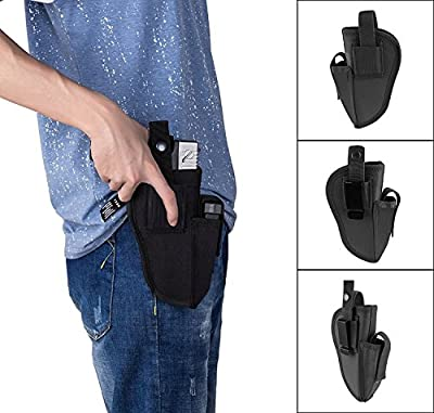 ENJOY OUTDOOR Gun Holster with Steel Clip for Concealed Carry Inside or Outside The Waistband for Right and Left Hand Draw, Elastic Hand Gun Holder Fits Full Size 9mm 40 45 Pistols