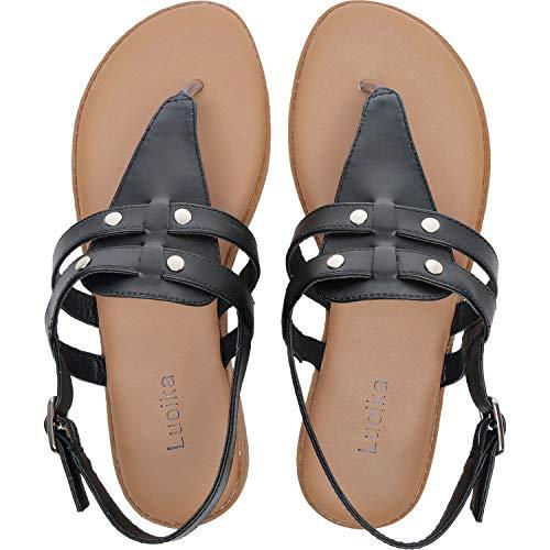 Luoika Women's Wide Width Flat Sandals - Flexible Buckle Thong Rivet Comfortable Summer Shoes.(181210,Black,7)