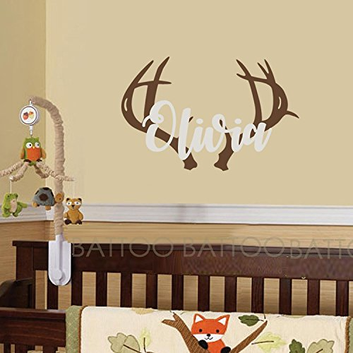 BATTOO Personalized Name Wall Decal Deer Head Decor- Wall Decal Boys Hunting Themed Woodland Nursery Decor- Wall Decal Kids Deer Antler Wall Decor