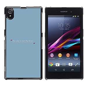 Caucho caso de Shell duro de la cubierta de accesorios de protección BY RAYDREAMMM - Sony Xperia Z1 L39 C6902 C6903 C6906 C6916 C6943 - Blue Baby Quote Message Text Minimalist