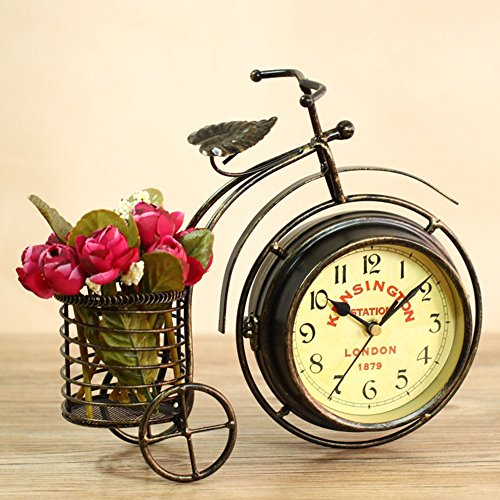 NEOTEND Handmade Vintage Bicycle Clock Bike Mute Two Sided Table Clock by NEOTEND (Image #1)