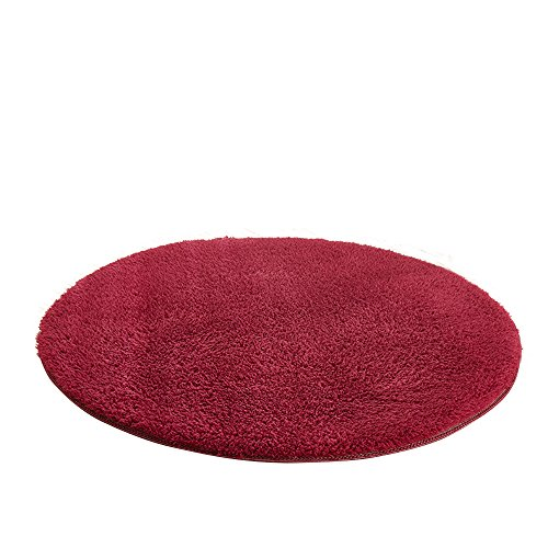 MIUSIE Circular Living Room Carpet Anti-skid Super Soft Luxury Shaggy Rug Bedroom Home Decorate Floor Kids Playing Mat?Wine 100cm
