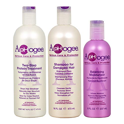 Care Hair Bundle (Aphogee Trio Two-Step Protein Treatment Bundle with Shampoo for Damaged Hair and Balancing Moisturizer, 16 oz)