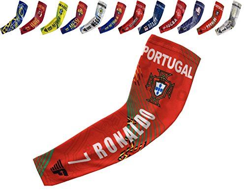Forever Fanatics Sports Fan Compression Arm Sleeves ✓ Baseball Football Soccer Basketball Shooter Sleeve ✓ Pick Any Team & Athlete (Youth Size (Ages 6-13 yrs), Portugal Ronaldo #7)