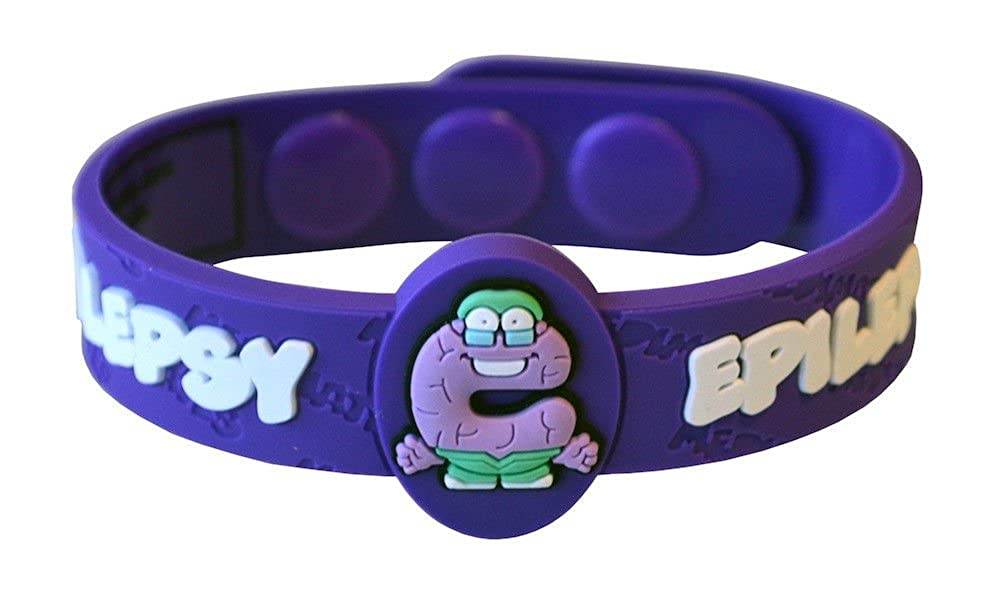 NEW AllerMates Allergy Wristbands alert Medical ID Silicone Bracelet Emergency jewel (EPILEPSY) na