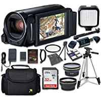 Canon VIXIA HF R800 Camcorder with Sandisk 32 GB SD Memory Card + LED Light + Extra Accessory Bundle