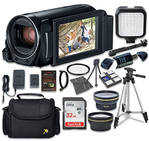 Canon VIXIA HF R800 Camcorder with Sandisk 32 GB SD Memory Card + LED Light + Extra Accessory Bundle by Canon