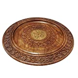 IndiaBigShop Handmade Classic Wooden Tray for Serve Ware Kitchen Accessories With Flower Design & Carved Brass Inlay - 12 X 12 Inch