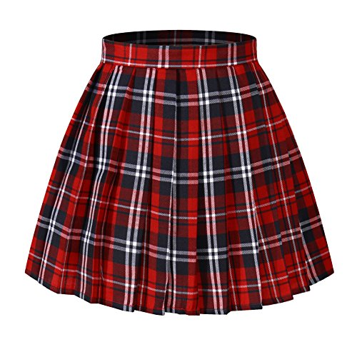 Beautifulfashionlife Girl's Japan A-line Kilt Plaid Pleated Costumes Skirts (M,Red Blue)]()