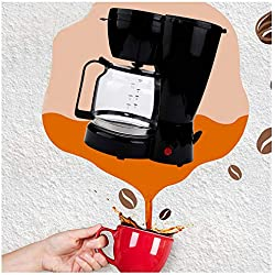 1500CC/10-Cup Coffee Maker, Brewing Coffee Brewer with Glass Carafe, Anti-Drip System Coffee Machine, Sprinkler Head, Warming Plate for Apartments, Home, Office (Black)