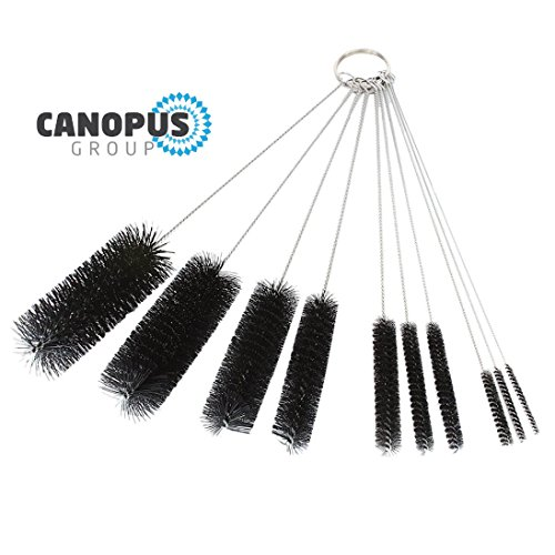 Canopus 8.2 Inch Nylon Tube Brush Set Cleaning Brush Set for Drinking Straws, Glasses, Keyboards, Jewelry Cleaning, Set of 10
