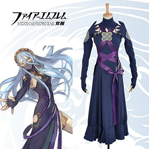 Aqua Dress M  160-165cm Sunkee Fire Emblem Awakening Robin Outfit Uniform Anime Cosplay Costume , Tailor Made, ( Please give us your weight, height, shoulder width, waist, bust and hip) (XL  170-175cm, Robin Outfit)