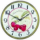 Roger Lascelles Red Cherries French Wall Clock, 14.2-Inch