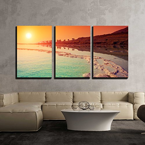 vas Wall Art - Sunrise over Dead Sea. - Modern Home Decor Stretched and Framed Ready to Hang - 16