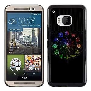 KLONGSHOP // Cubierta de piel con cierre a presión Shell trasero duro de goma Protección Caso - Color de Signos - HTC One M9 //