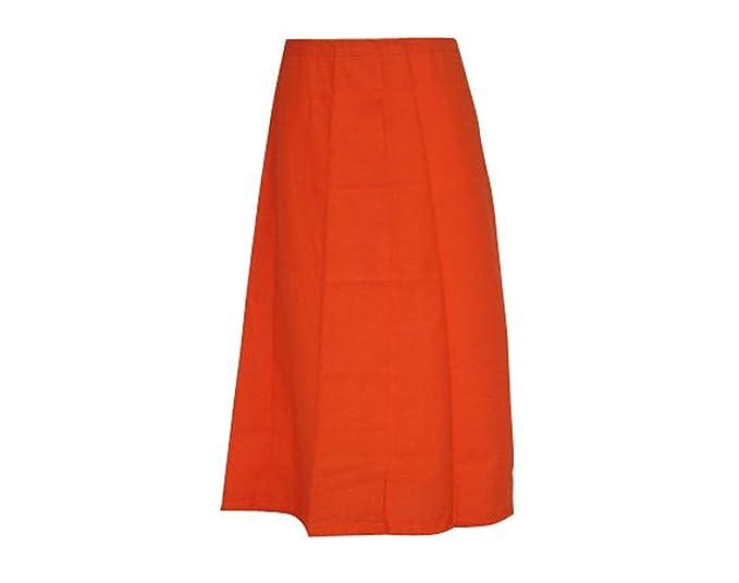 indiancraftart Mujeres Sari Enagua Falda de Color Naranja Sitiched ...