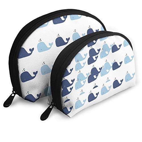(Ikejsne Black Sea Blue Whales Shell Shape Makeup Bag Set, Travel Toiletry Clutch, Cosmetic Pouch Purse)