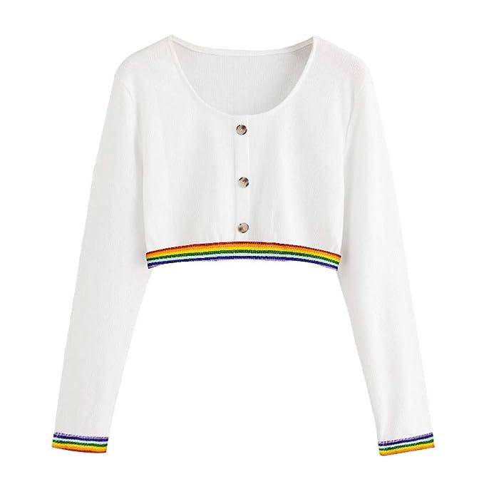 Yvelands Blusas para Mujer, Womens Sweater Camisa de Manga Larga con Botones de Cinta de Color sólido con Textura.: Amazon.es: Ropa y accesorios