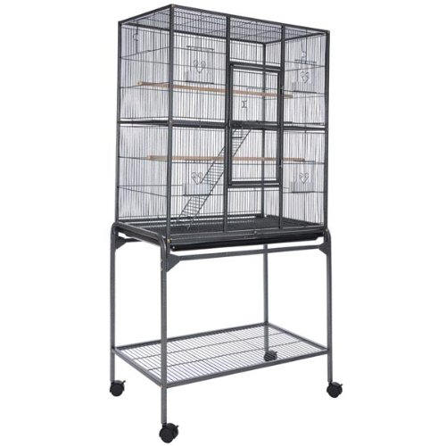 Vein Black Rectangle Double-deck Parrot Bird Cage with Po...