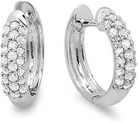 0.30 Carat (ctw) 18K White Gold Ladies Pave Set Huggies Hoop Earrings 1/3 CT