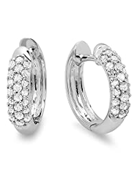 0.30 Carat (ctw) 18K White Gold Ladies Pave Set Huggies Hoop Earrings 1/3 CT