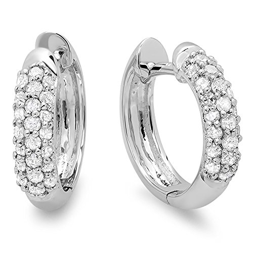0.30 Carat (ctw) 18k White Gold Round Diamond Ladies Pave Set Huggies Hoop Earrings 1/3 CT