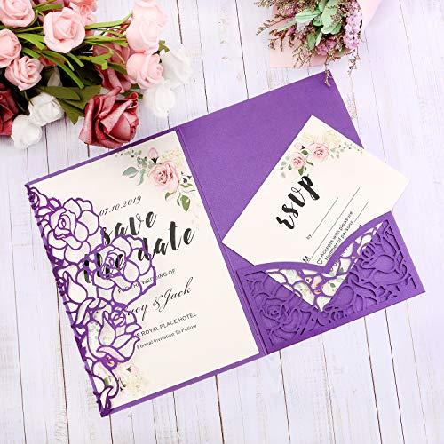 Buy violet wedding invitations