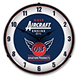 Gulf Aircraft Engine Oil Lighted Clock For Sale