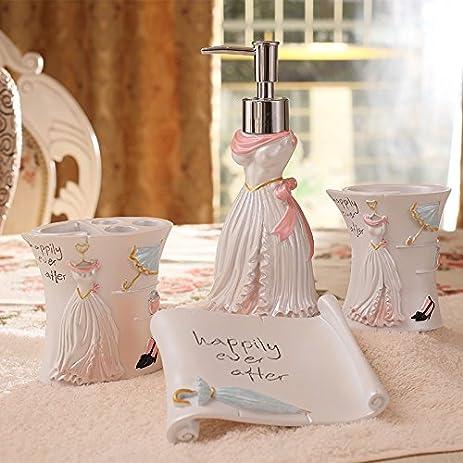 Superbe Brandream Cute Pearl White Bathroom Accessories Romantic Girls Bathroom Sets  Resin