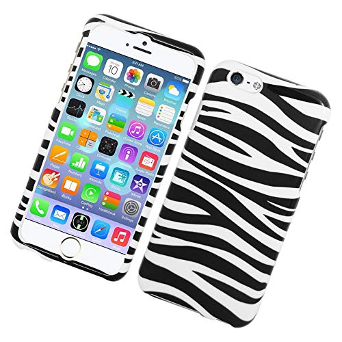 Insten Zebra Rubberized Hard Snap-in Case Cover Compatible with Apple iPhone 6/6s, White/Black