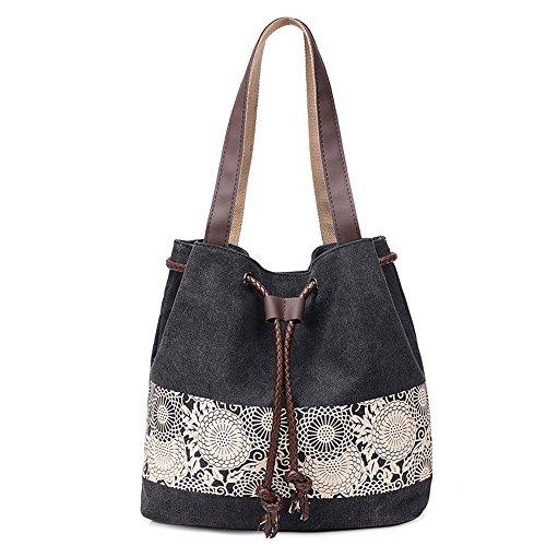 BYD - Mujeres Canvas Bucket Bag Bolsos bandolera School Bag with PU cuero Strap with Printed Flower Design Negro