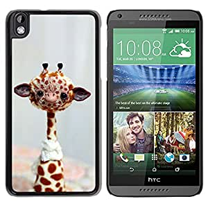 QCASE / HTC DESIRE 816 / jirafa de peluche juguete áfrica arte libre salvaje / Delgado Negro Plástico caso cubierta Shell Armor Funda Case Cover