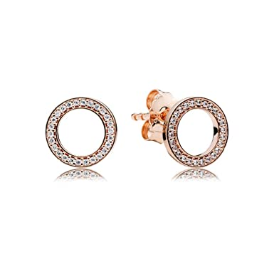 3bdf6e416 Image Unavailable. Image not available for. Color: Pandora Forever Rose  Gold One Size Earring 280585CZ