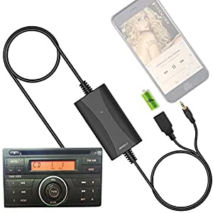 Car Stereo AUX Input Adapter, Auxiliary Cable Cord USB Charger for Nissan Altima Maxima Xterra